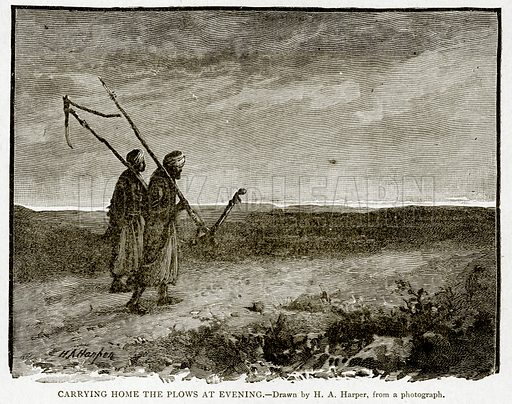 Carrying Home the Plows at evening. Illustration from With the World's People by John Clark Ridpath (Clark E Ridpath, 1912).