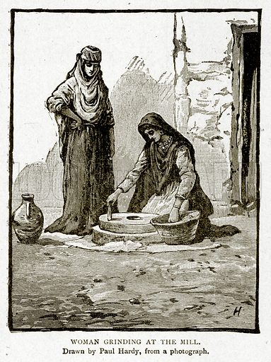 Woman grinding at the Mill. Illustration from With the World's People by John Clark Ridpath (Clark E Ridpath, 1912).