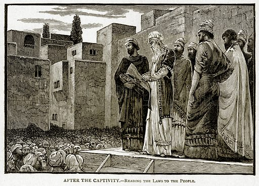 After the captivity. – Reading the laws to the people. Illustration from With the World's People by John Clark Ridpath (Clark E Ridpath, 1912).