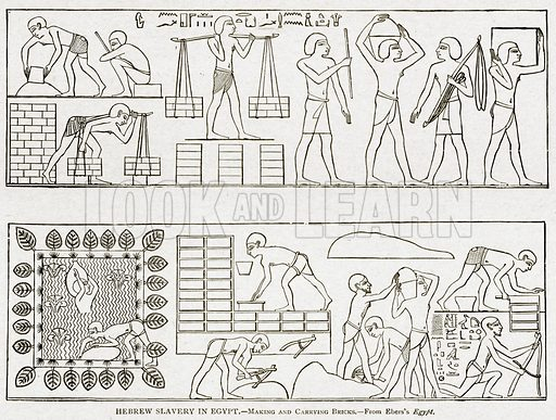 Hebrew Slavery in Egypt. – Making and Carrying Bricks. Illustration from With the World's People by John Clark Ridpath (Clark E Ridpath, 1912).