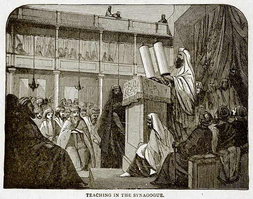 Teaching in the Synagogue. Illustration from With the World's People by John Clark Ridpath (Clark E Ridpath, 1912).