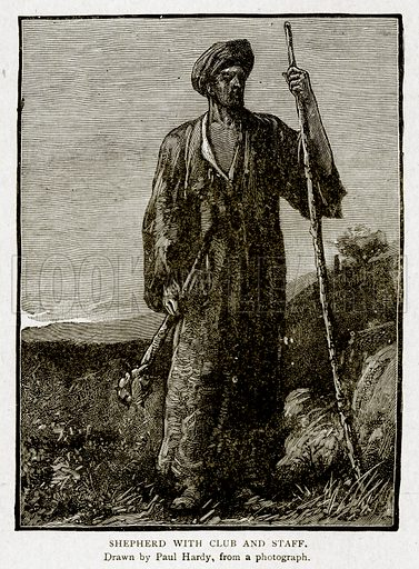 Shepherd with Club and Staff. Illustration from With the World's People by John Clark Ridpath (Clark E Ridpath, 1912).