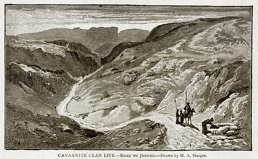 Canaanite Clan Life. – Road to Jericho. Illustration from With the World's People by John Clark Ridpath (Clark E Ridpath, 1912).
