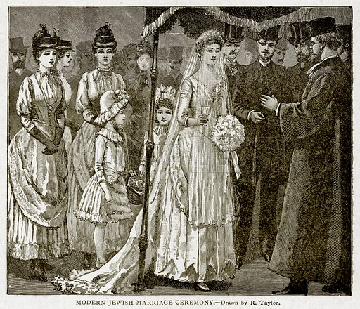 Modern Jeish Marriage Ceremony. Illustration from With the World