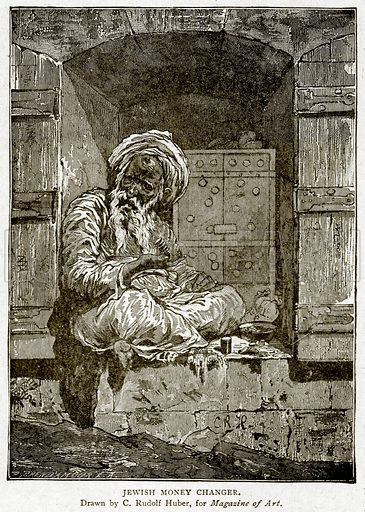 Jewish Money Changer. Illustration from With the World's People by John Clark Ridpath (Clark E Ridpath, 1912).