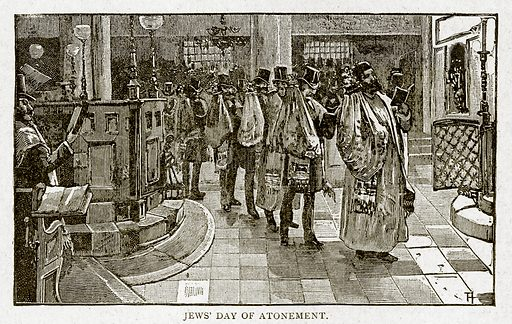 Jews' Day of Atonement. Illustration from With the World's People by John Clark Ridpath (Clark E Ridpath, 1912).