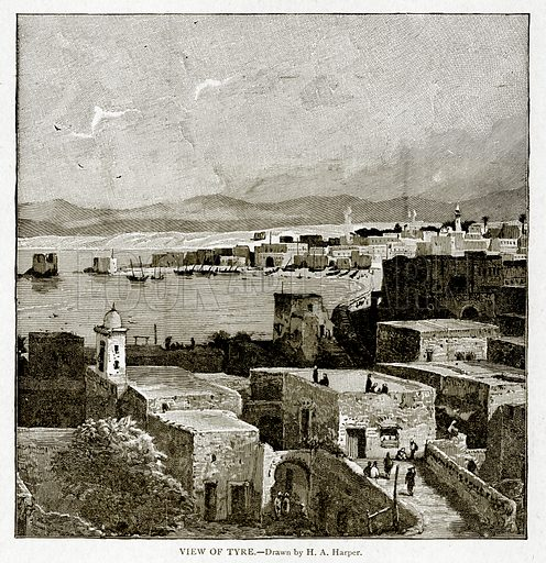 View of Tyre. Illustration from With the World's People by John Clark Ridpath (Clark E Ridpath, 1912).