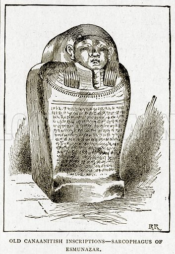 Old Canaanitish Inscriptions--Sarcophagus of Esmunazar. Illustration from With the World's People by John Clark Ridpath (Clark E Ridpath, 1912).