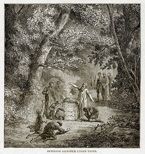 Offering Sacrifice under Trees. Illustration from With the World's People by John Clark Ridpath (Clark E Ridpath, 1912).