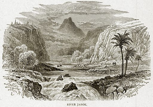 River Jabok. Illustration from With the World's People by John Clark Ridpath (Clark E Ridpath, 1912).