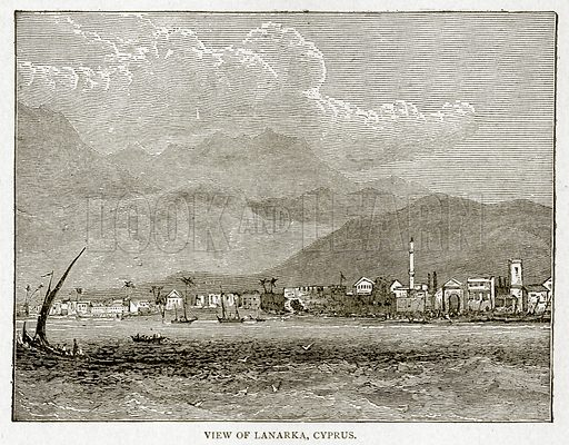 View of Lanarka, Cyprus. Illustration from With the World's People by John Clark Ridpath (Clark E Ridpath, 1912).