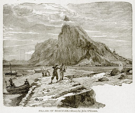 Pillars of Hercules. Illustration from With the World's People by John Clark Ridpath (Clark E Ridpath, 1912).