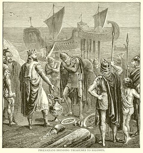 Phoenicians bringing Treasures to Solomon. Illustration from With the World