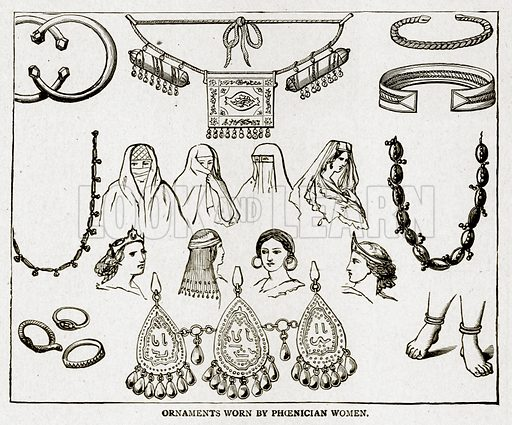 Ornaments Worn by Phoenician Women. Illustration from With the World's People by John Clark Ridpath (Clark E Ridpath, 1912).