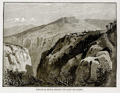 Libanus, with Druse Village on Cliff. Illustration from With the World's People by John Clark Ridpath (Clark E Ridpath, 1912).