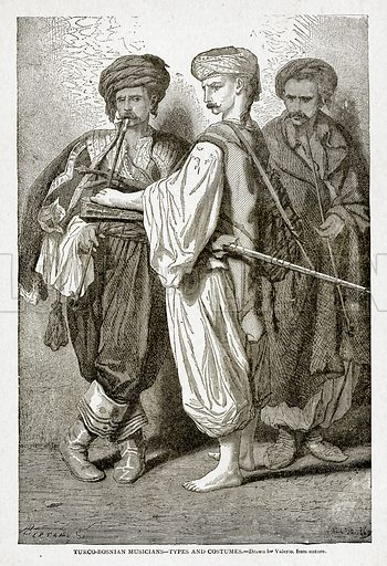 Turco-Bosnian Musicians--Types and Costumes. Illustration from With the World's People by John Clark Ridpath (Clark E Ridpath, 1912).
