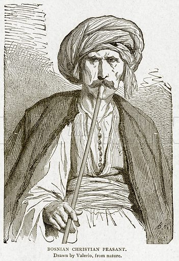 Bosnian Christian Peasant. Illustration from With the World's People by John Clark Ridpath (Clark E Ridpath, 1912).