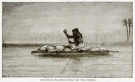 Primitive Bladder Boat on the Tigris. Illustration from With the World's People by John Clark Ridpath (Clark E Ridpath, 1912).