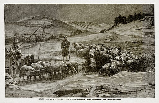 Shepherds and Flocks at the Wells. Illustration from With the World's People by John Clark Ridpath (Clark E Ridpath, 1912).