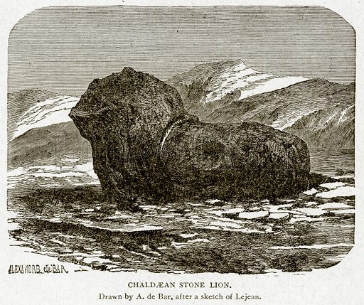 Chaldaean Stone Lion. Illustration from With the World's People by John Clark Ridpath (Clark E Ridpath, 1912).