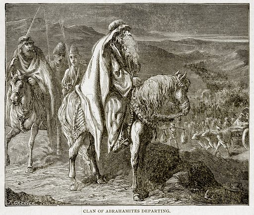 Clan of Abrahamites Departing. Illustration from With the World's People by John Clark Ridpath (Clark E Ridpath, 1912).