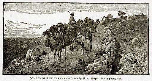 Coming of the Caravan. Illustration from With the World's People by John Clark Ridpath (Clark E Ridpath, 1912).