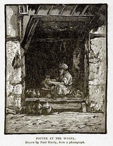 Potter at the Wheel. Illustration from With the World's People by John Clark Ridpath (Clark E Ridpath, 1912).