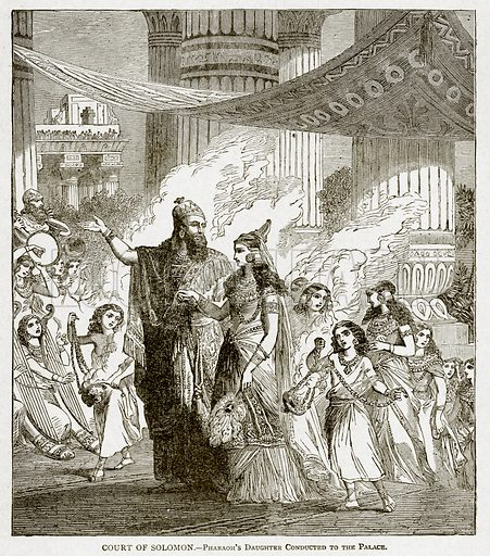 Court of Solomon.--Pharaoh's Daughter conducted to the Palace. Illustration from With the World's People by John Clark Ridpath (Clark E Ridpath, 1912).