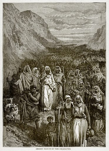 Desert March of the Israelites. Illustration from With the World's People by John Clark Ridpath (Clark E Ridpath, 1912).