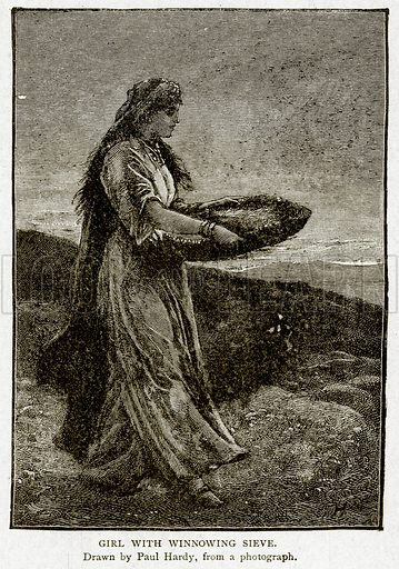 Girl with Winnowing Sieve. Illustration from With the World's People by John Clark Ridpath (Clark E Ridpath, 1912).