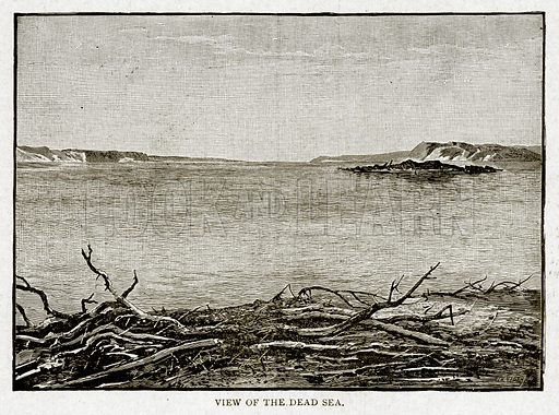 View of the Dead Sea. Illustration from With the World's People by John Clark Ridpath (Clark E Ridpath, 1912).