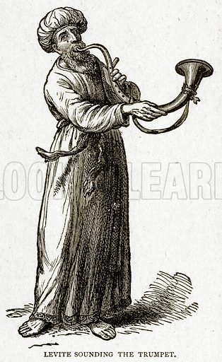 Levite sounding the Trumpet. Illustration from With the World's People by John Clark Ridpath (Clark E Ridpath, 1912).
