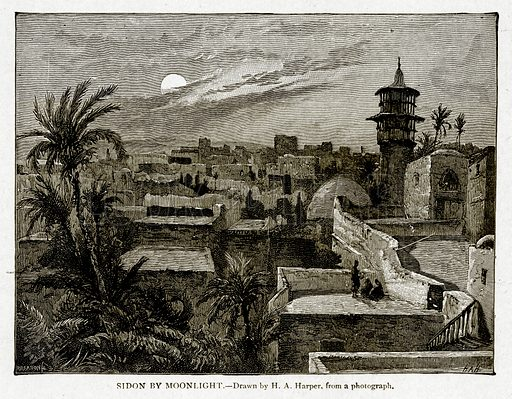 Sidon by Moonlight. Illustration from With the World's People by John Clark Ridpath (Clark E Ridpath, 1912).