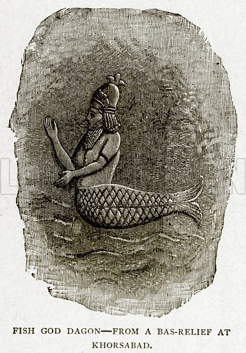 Fish God Dagon. Illustration from With the World's People by John Clark Ridpath (Clark E Ridpath, 1912).