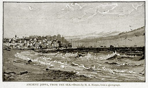 Ancient Joppa, from the Sea. Illustration from With the World