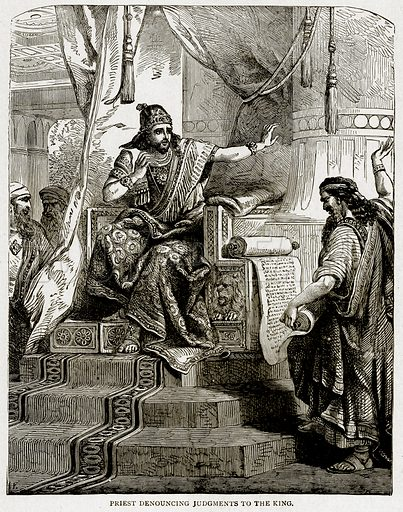 Priest Denouncing Judgments to the King. Illustration from With the World's People by John Clark Ridpath (Clark E Ridpath, 1912).