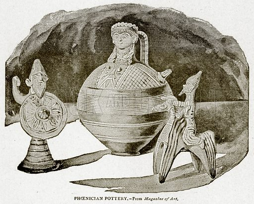 Phoenician Pottery. Illustration from With the World's People by John Clark Ridpath (Clark E Ridpath, 1912).