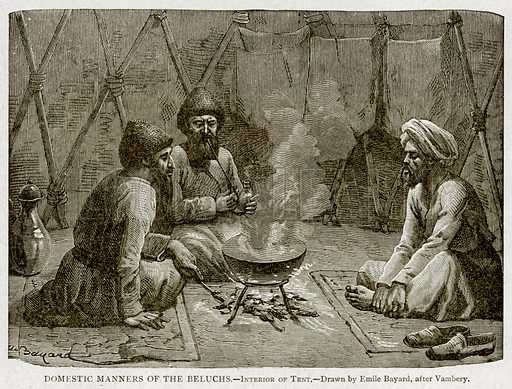 Domestic Manners of the Beluchs. – Interior of Tent. Illustration from With the World's People by John Clark Ridpath (Clark E Ridpath, 1912).