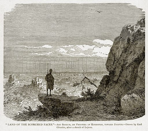 """""""Land of the Scorched Faces.""""--Abu Senoum, on Frontier of Kordofan, toward Darfur. Illustration from With the World"""
