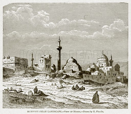 Mesopotamian Landscape.--View of Mossul. Illustration from With the World's People by John Clark Ridpath (Clark E Ridpath, 1912).