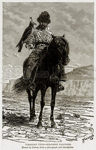 Turanian Type--Kirgheez Falconer. Illustration from With the World's People by John Clark Ridpath (Clark E Ridpath, 1912).