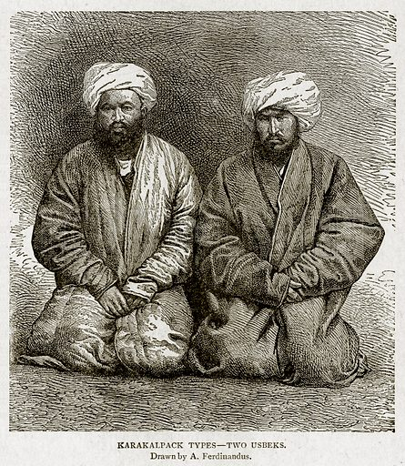Karakalpack Types--Two Usbeks. Illustration from With the World's People by John Clark Ridpath (Clark E Ridpath, 1912).