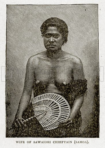 Wife of Sawaiori Chiefain (Samoa). Illustration from With the World's People by John Clark Ridpath (Clark E Ridpath, 1912).