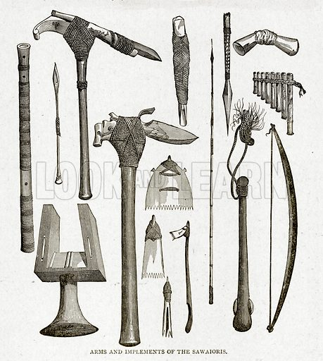 Arms and implements of the Sawaioris. Illustration from With the World's People by John Clark Ridpath (Clark E Ridpath, 1912).