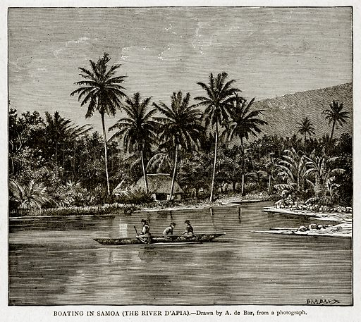 Boating in Samoa (The River D'Apia). Illustration from With the World's People by John Clark Ridpath (Clark E Ridpath, 1912).