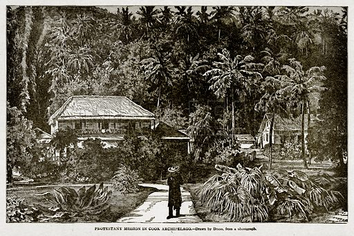 Protestant Mission in Cook Archipelago. Illustration from With the World's People by John Clark Ridpath (Clark E Ridpath, 1912).