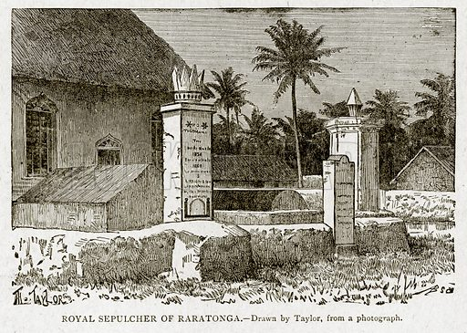 Royal Sepulcher of Raratonga. Illustration from With the World's People by John Clark Ridpath (Clark E Ridpath, 1912).