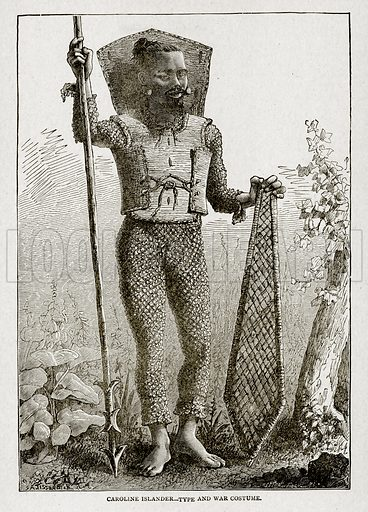 Caroline Islander--Type and War Costume. Illustration from With the World's People by John Clark Ridpath (Clark E Ridpath, 1912).