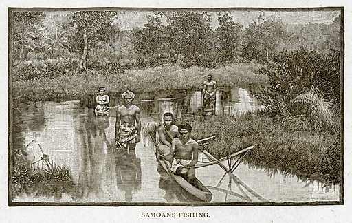Samoans Fishing. Illustration from With the World
