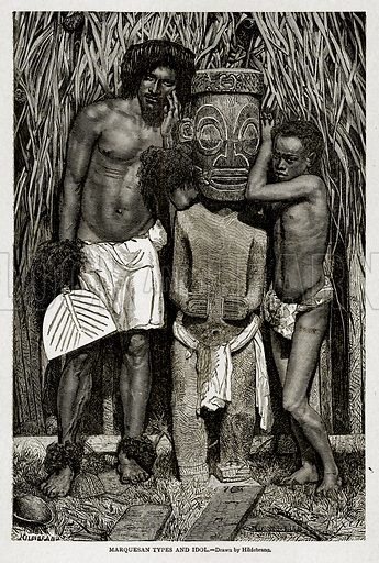 Marquesan Types and Idol. Illustration from With the World's People by John Clark Ridpath (Clark E Ridpath, 1912).